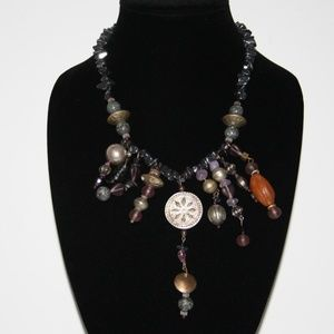 Vintage hematite and mixed stone necklace